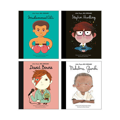 Little People Big Dreams 4 NEW Book Collection (RRP £27.96) Gandhi, David Bowie
