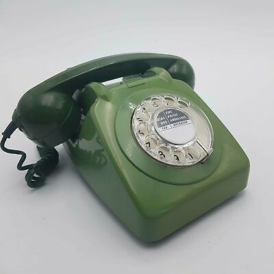 Vintage UK 1960's Green GPO 746 Rotary Dial Telephone - Working & Converted