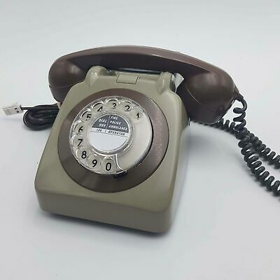 Vintage UK 1960's Grey & Brown AEP Electrica (GPO 706) Rotary Dial Telephone ...