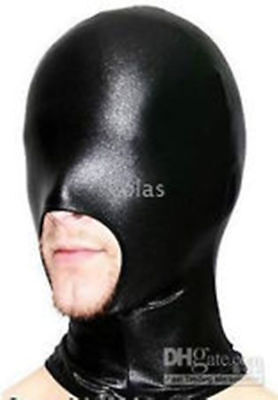halloween spandex Lycra spandex Zentai metallic black open mouth hood/mask