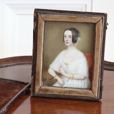 AN Antique Victorian Painted Portrait Miniature Of A Pretty Young Lady, c.1840.