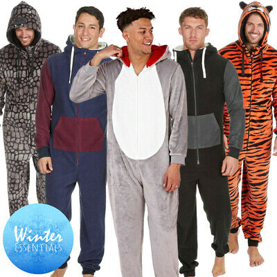 1Onesie Mens Boys Novelty Or Plain Fleece Hooded All In One Pyjamas Animal Adult