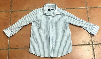 Duck and Dodge Boys Smart White and Blue Stripe Shirt Age 3 Years