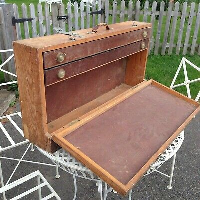 Large wooden wood engineers TOOL CHEST two drawer storage cabinet