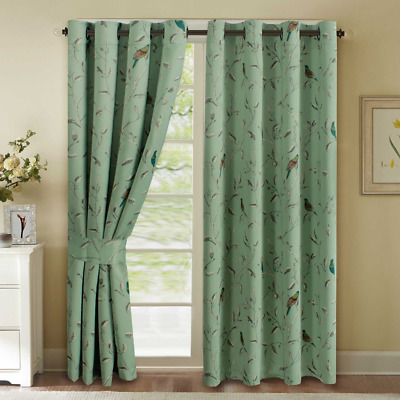 H.VERSAILTEX Turquoise Birds Country Style Pattern Thermal Insulated Blackout of