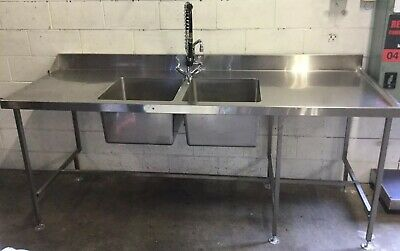 Commercial Cafe Restaurant Twin Sink With Shower Head Rinse Tap & Dishwasher End