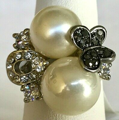Silver Art Deco Pearl Butterfly Statement Cocktail Ring Size 7 Simulated Plated