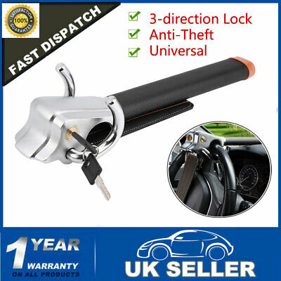 Foldable Car Steering Wheel Anti Theft Security  3-Direction Lock Safe w/ Keys
