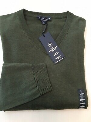 NWT Hart Schaffner Marx XL Extra Fine Merino Wool Sweater Olive Green V-Neck