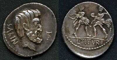 "L. Titurius L. f. Sabinus AR Denarius 89BC  ""Abduction of Sabine women"""