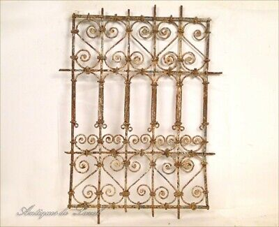 Grid Window Moroccan Forged Iron Painted, 20th