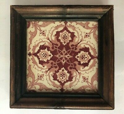 Antique Red Transferware Tile Plaque England Wood Framed Wall Hanging