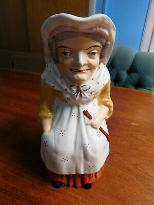 Large Antique Milk Pitcher Old Staffordshire Ware England Old Woman - Very Nice