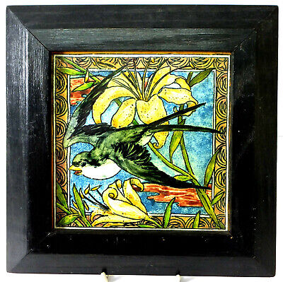 Framed WB Simpson aesthetic hand painted tile - Bluebird