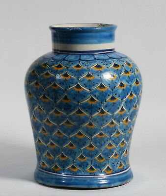 Large Mexican Talavera Vase / Southwest Colonial Peacock Feather Design