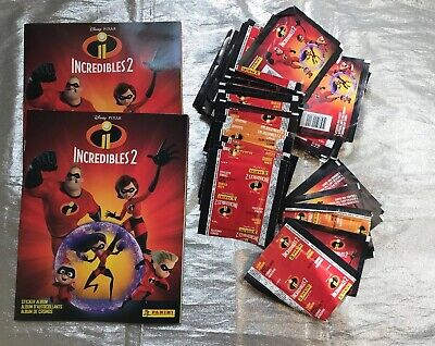 Incredibles 2 Panini Stickers (55 Packages) And 2 Albums. NEW