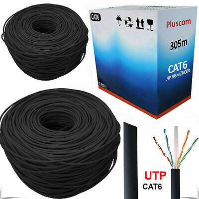 305M RJ45 CAT6 OUTDOOR Network Ethernet LAN Cable 4 Pair UTP ADSL Roll Reel Box