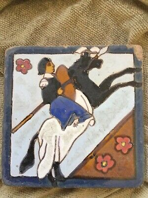 """Unusual Antique Victorian Arts and Crafts Gothic Tile Knight on Horseback 5x5"""""""