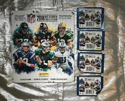 2018 NFL Panini Sticker Album & 4 Packages Of Stickers. Brand NEW!