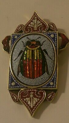 Antique Egyptian Revival Micro Mosaic Scarab Beetle Pendant