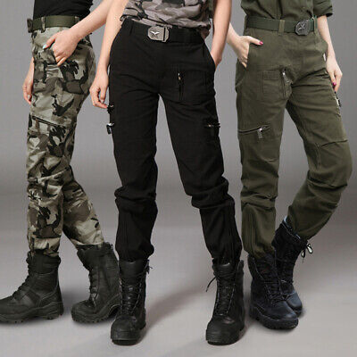 Fall Women's Camouflage Army Military Pants 100% Cotton Overalls Hiphop Trousers