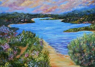 Aceo Prints landscape mini from painting, Hidden Cove Lake 2.5x3.5, signed