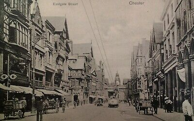 Chester UK Antique Postcard Early 1900s Rare Eastgate Double DD Trolley Big Eyes