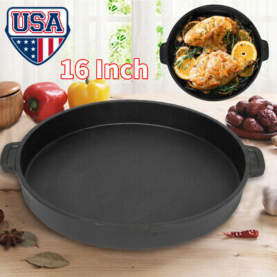 ROUND CAST IRON GRIDDLE 16 Inch Pre Seasoned Cookware Pizza Eggs Pancakes Pan