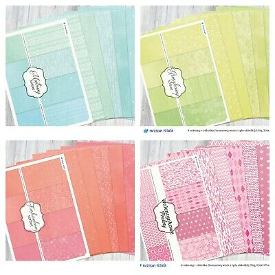 A4 scrapbooking paperpad cardstock in various colours / patterns 8 sheets 250gsm