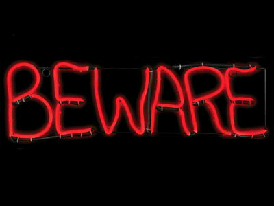 Lighted Beware Halloween Sign Flickering Short Circuit New