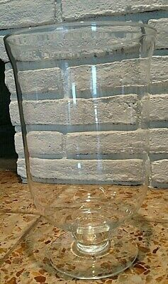 Large Antique Clear Glass Footed Vase Urn