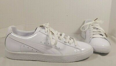 Puma Clyde Dressed Lace Up Off White Leather Mens Trainers 361704 02 D97
