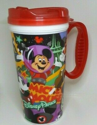 2019 Disney Parks Mickey & Minnie Mouse Refillable Mug Cup Souvenir Red Lid
