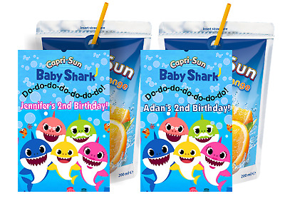 Baby Shark Capri Sun Labels Birthday Party Favors Supplies Personalized Suns