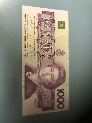 1988 - Canadian 1000$ One Thousand Dollar Banknote Bonin/Thiessen Bank Of Canada
