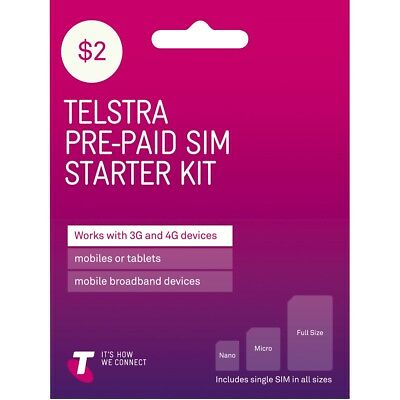 Telstra $2 starter sim pack.