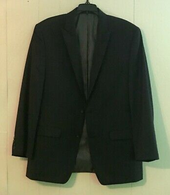 Great! Calvin Klein Solid Fit Blazer Jacket 2 Button 42R Peak Lapel Double Vents