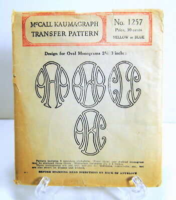 """McCall Kaumagraph Transfer Pattern 1257 Oval Monograms 2 1/2 - 3"""" Antique 1930's"""