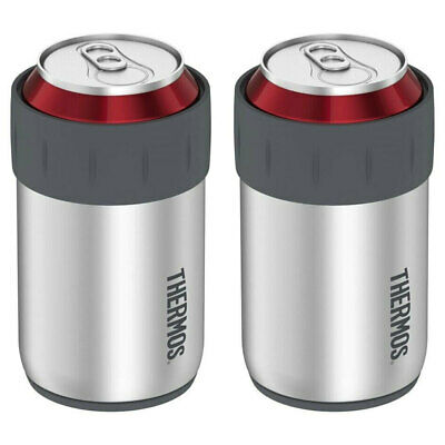 2PK Thermos 355ml Stainless Steel Beer/Drinks Can Insulator/Cooler Stubby Holder