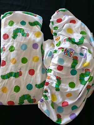 HUNGRY LITTLE CATERPILLAR COT SHEETS x 2~BOTH FITTED~CUTE PRINT~EXC COND.