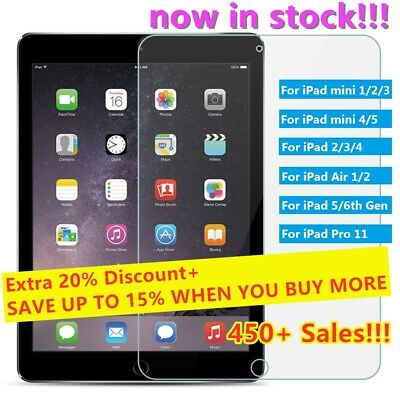 """Tempered Glass Screen Protector For iPad 2 3 4 6th Air Pro 9.7"""" 10.5"""" mini 7.9"""""""