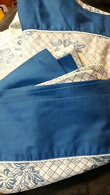 Vtg LADY PEPPERELL PERCALE BLUE WHITE Floral Full Flat Fitted Pillowcase SHEETS
