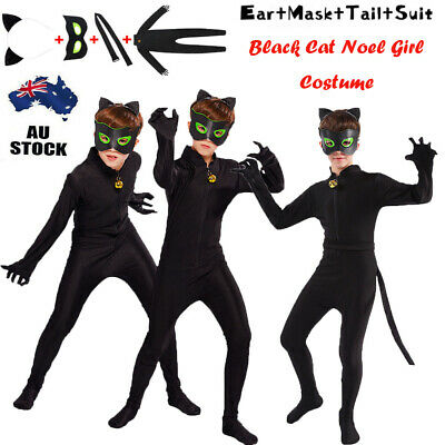 Black Cat Noel Girl Costume Cosplay Fancy Dress Up Tight Outfits Halloween Party