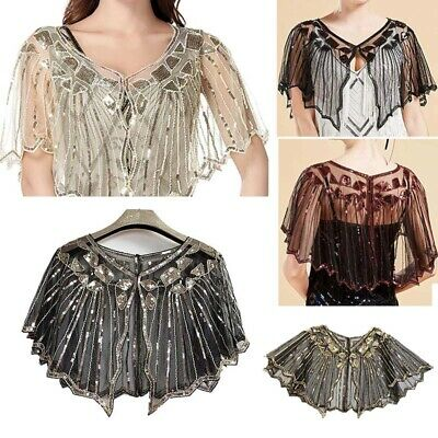 Vintage Women's 1920s Shawl Wraps Beaded Sequin Shrug Tops Evening Cape Cover Up