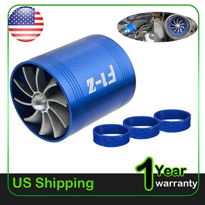 Double Air Intake Turbine Turbo SuperCharger Gas Fuel Saver Fan Charger US 2019