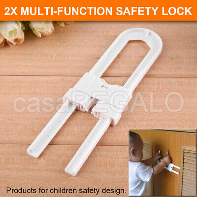 2X Baby Safety Lock Child Kids U-shaped Drawer Door Cabinet Cupboard Lock