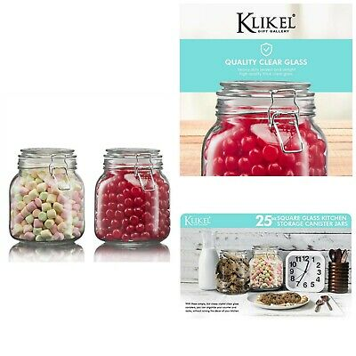 SQUARE GLASS JARS Kitchen Storage Canister With Clear Lid ...