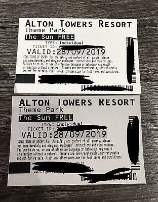 Alton Towers (2) Saturday 28th September Actual Card Tickets Fast Secure Post **