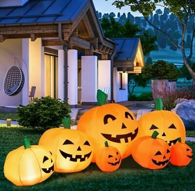 Halloween Yard Decorations Inflatable Pumpkin Patch 7.5' w/ LED Lights Party