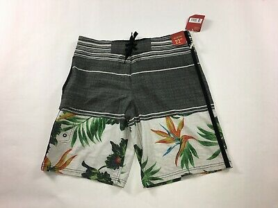 """Shorts 28 Mossimo Supply Board Surf Below Knee 22/"""" Floral Blue Florida Striped"""